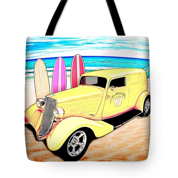 Surf Shop Sedan Delivery Rod Padre Island Tote Bag