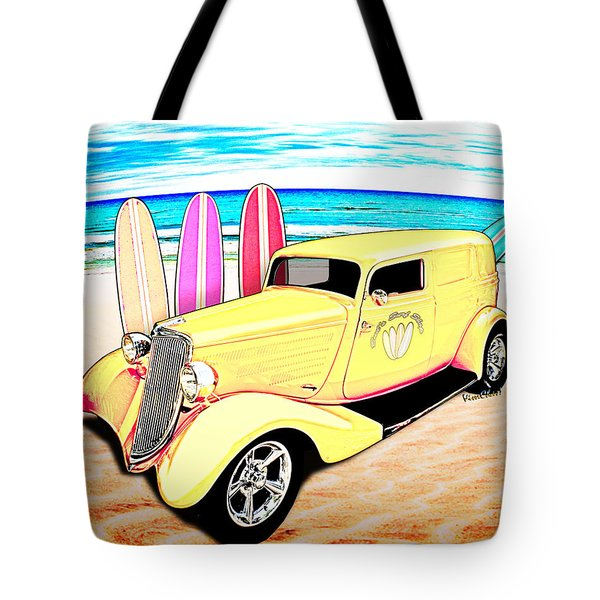 Surf Shop Sedan Delivery Rod Padre Island Tote Bag