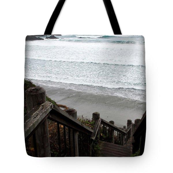 Tote Bag featuring the photograph Surf Stairway by Lorraine Devon Wilke