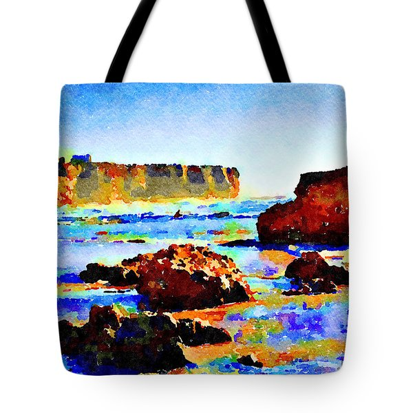 Tote Bag featuring the painting Surf The Headlands by Angela Treat Lyon