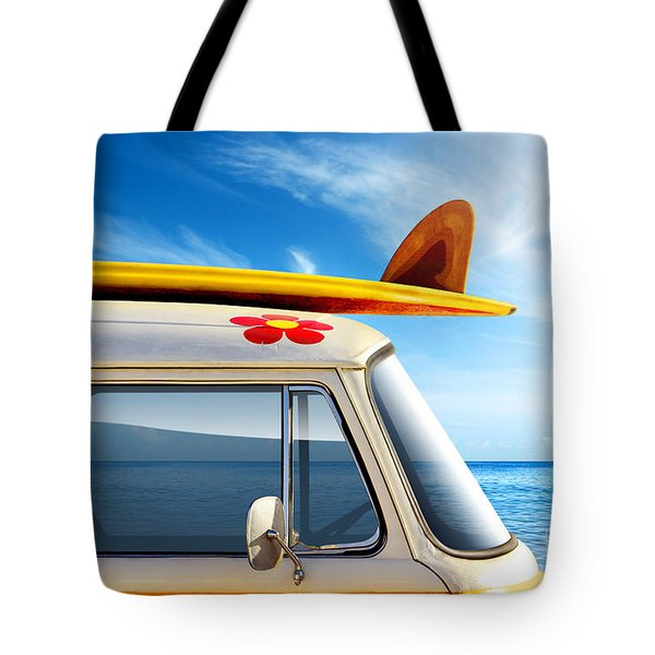 Surf Van Tote Bag by Carlos Caetano