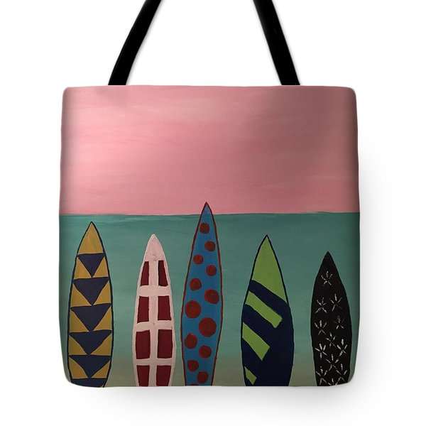 Surfboards At On Beach Tote Bag