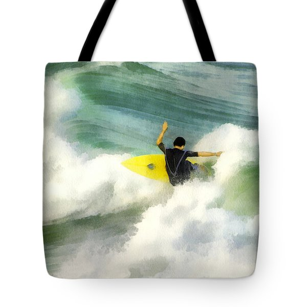 Tote Bag featuring the digital art Surfer 76 by Francesa Miller
