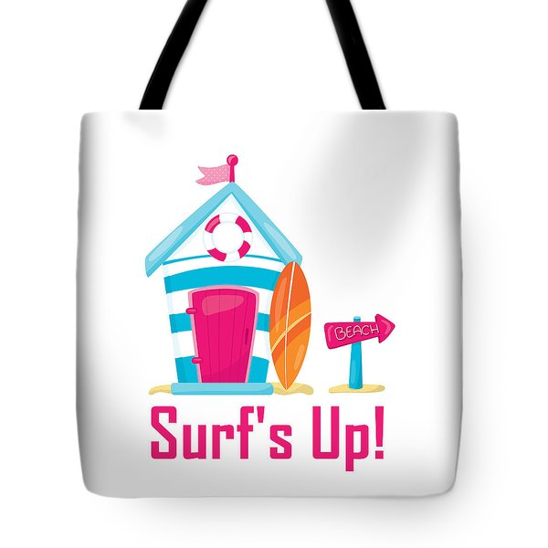 Tote Bag featuring the digital art Surfer Art - Surf's Up Cabana House To The Beach by Life Over Here