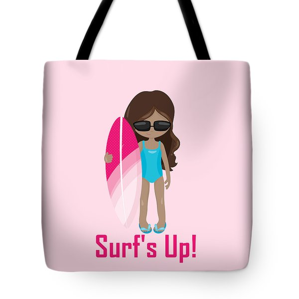 Surfer Art Surf's Up Girl With Surfboard #16 Tote Bag by KayeCee Spain