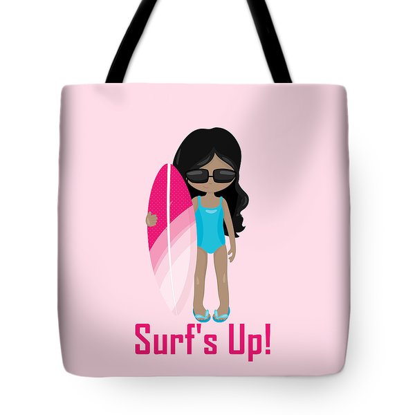 Surfer Art Surf's Up Girl With Surfboard #17 Tote Bag