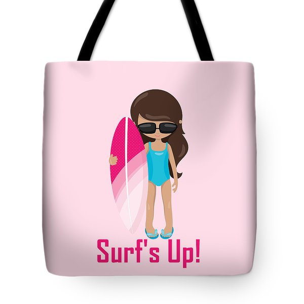 Surfer Art Surf's Up Girl With Surfboard #18 Tote Bag by KayeCee Spain