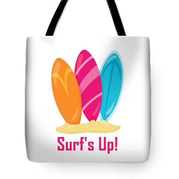 Surfer Art - Surf's Up Surfboards Tote Bag by Life Over Here