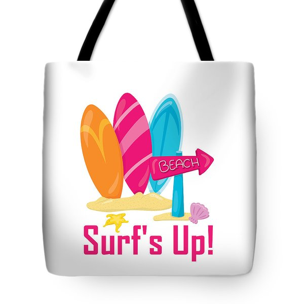 Surfer Art - Surf's Up To The Beach With Surfboards Tote Bag
