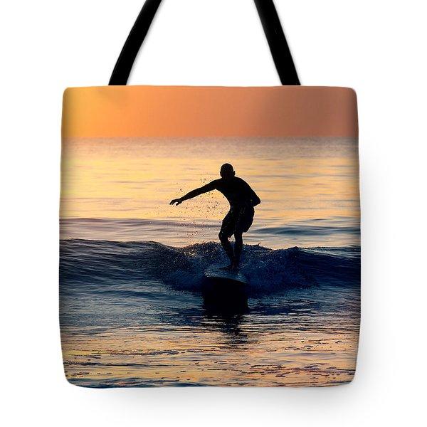 Surfer At Dusk Tote Bag