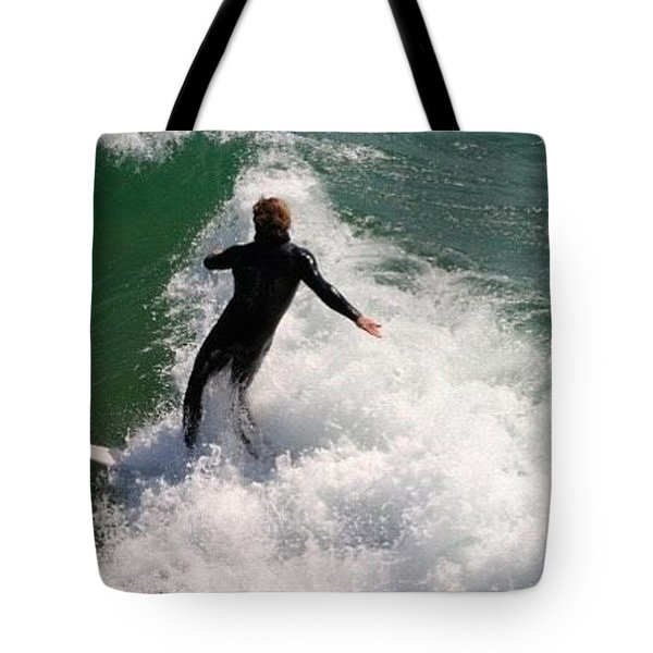 Surfer Catching A Wave Tote Bag