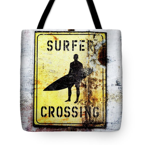 Surfer Crossing Tote Bag