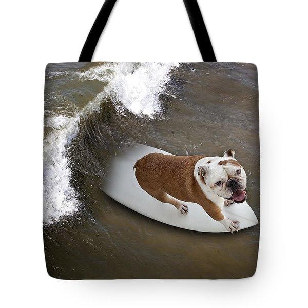 Surfer Dog Tote Bag
