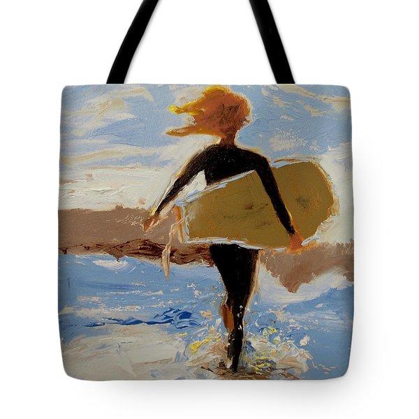 Surfer Girl Tote Bag by Barbara Andolsek