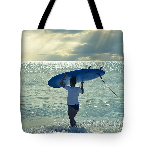 Surfer Girl Tote Bag by Laura Fasulo