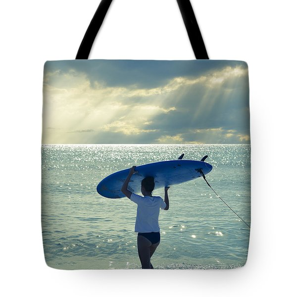 Surfer Girl Square Tote Bag by Laura Fasulo