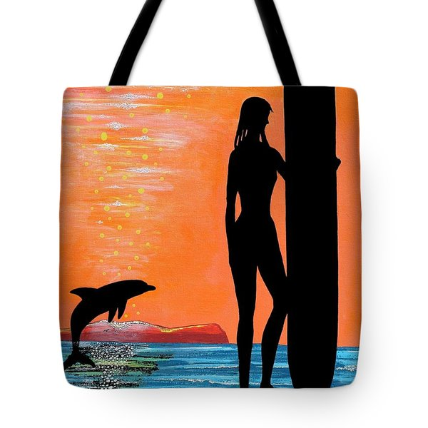 Surfer Girl With Dolphin Tote Bag
