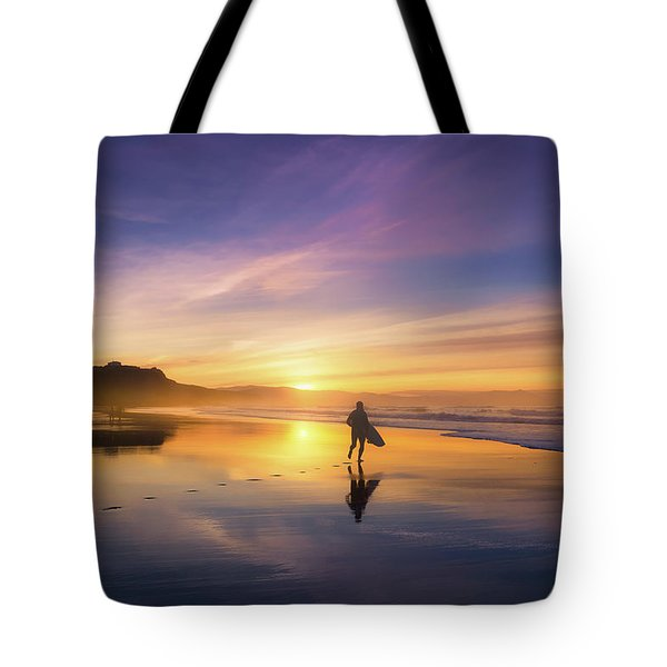 Surfer In Beach At Sunset Tote Bag