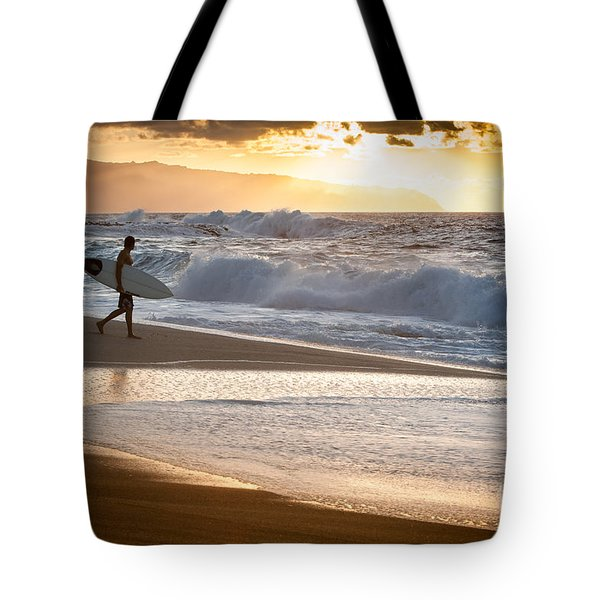 Surfer On Beach Tote Bag