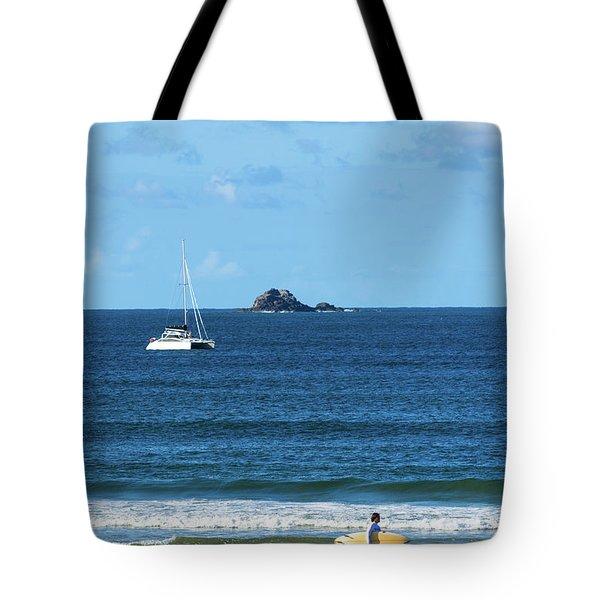 Surfer On Main Beach Tote Bag