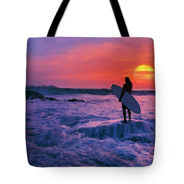 Surfer On Rock Looking Out From Blowing Rocks Preserve On Jupiter Island Tote Bag by Justin Kelefas