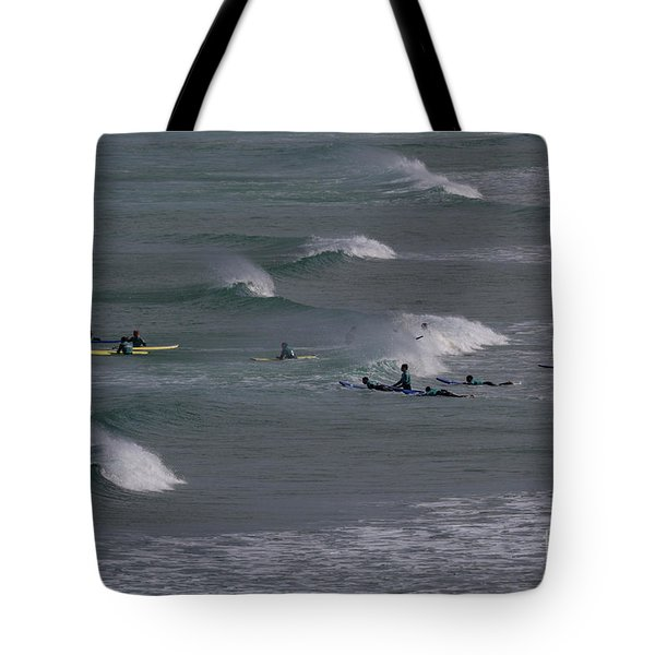 Tote Bag featuring the photograph Photographs Of Cornwall Surfers At Fistral by Brian Roscorla