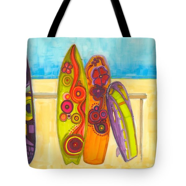 Surfing Buddies - Surf Boards At The Beach Illustration Tote Bag