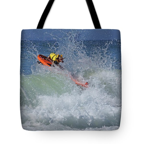Surfing Dog Tote Bag