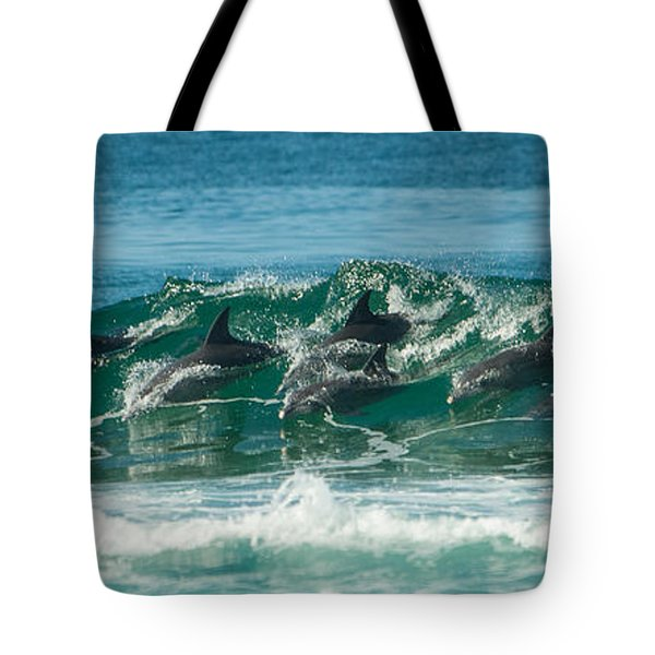 Surfing Dolphins 4 Tote Bag