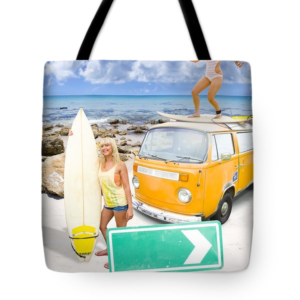 Surfing Holiday This Way Tote Bag