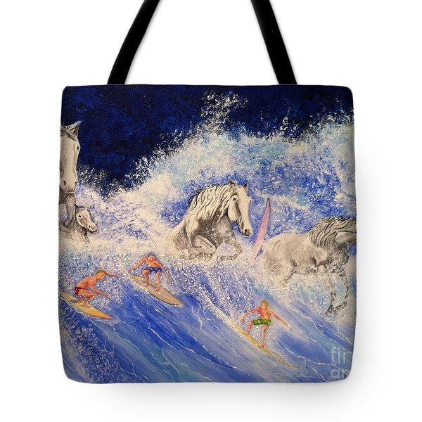 Surfing Horses Tote Bag