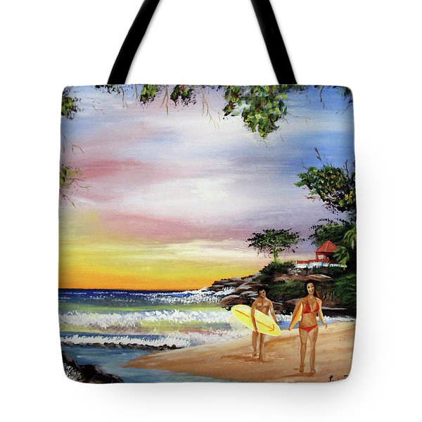 Surfing In Rincon Tote Bag by Luis F Rodriguez