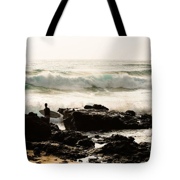 Tote Bag featuring the photograph Surfing Makapu Beach  by MaryJane Armstrong