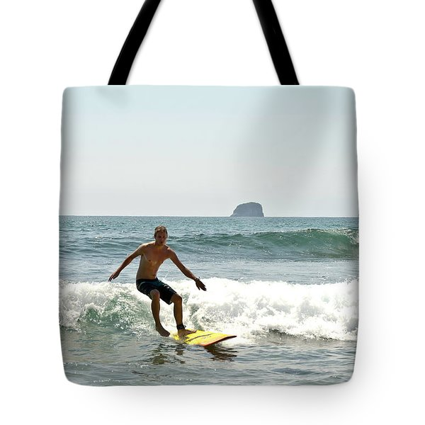 Surfing New Zealand Waves Tote Bag
