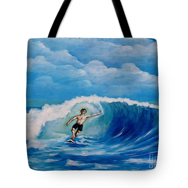 Surfing On The Waves Tote Bag
