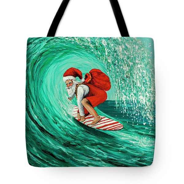 Tote Bag featuring the painting Surfing Santa by Darice Machel McGuire