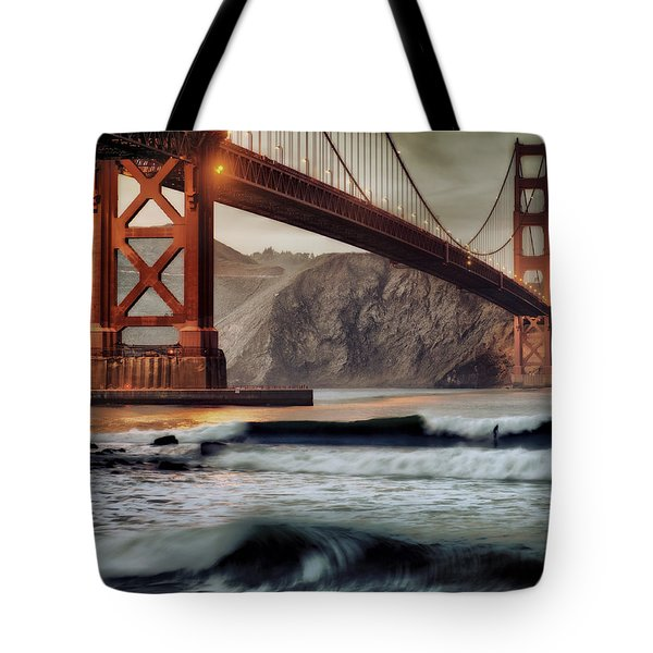 Surfing The Shadows Of The Golden Gate Bridge Tote Bag by Steve Siri