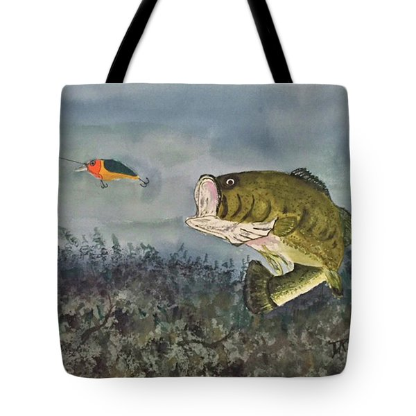 Tote Bag featuring the painting Surprise Coming by Donald Paczynski