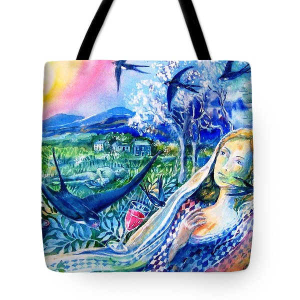 Surprised By A Swallow  Tote Bag by Trudi Doyle