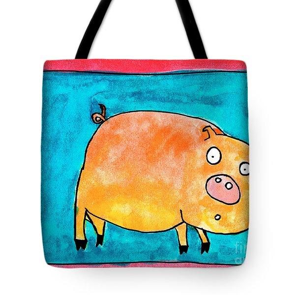 Surprised Pig Tote Bag
