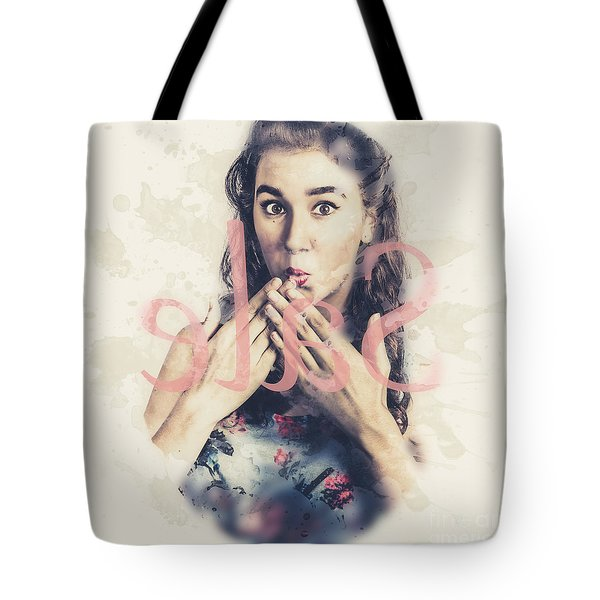 Surprised Pin Up Window Shopper At Store Sale Tote Bag