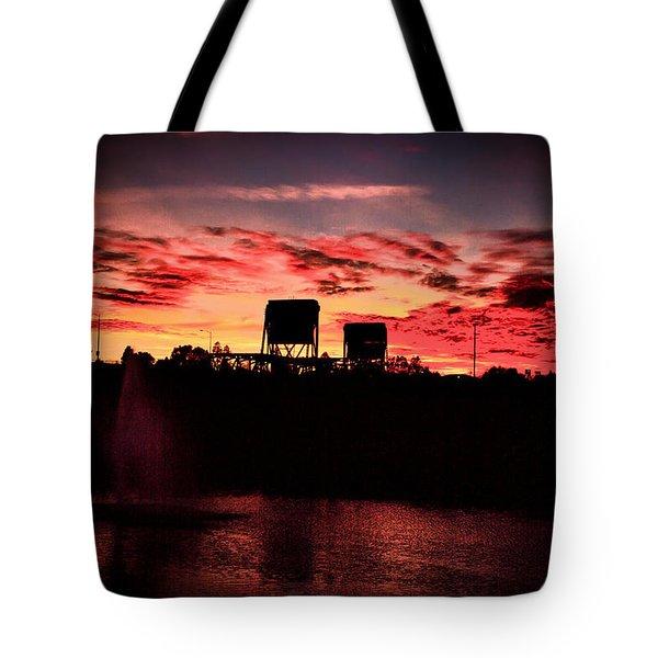 Surreal Bridge And Fountain Tote Bag