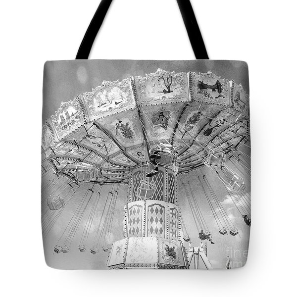 Tote Bag featuring the photograph Surreal Carnival Rides - Carnival Rides Ferris Wheel Black And White Photography Prints Home Decor by Kathy Fornal