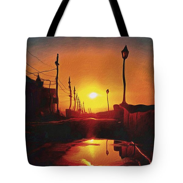 Surreal Cityscape Sunset Tote Bag