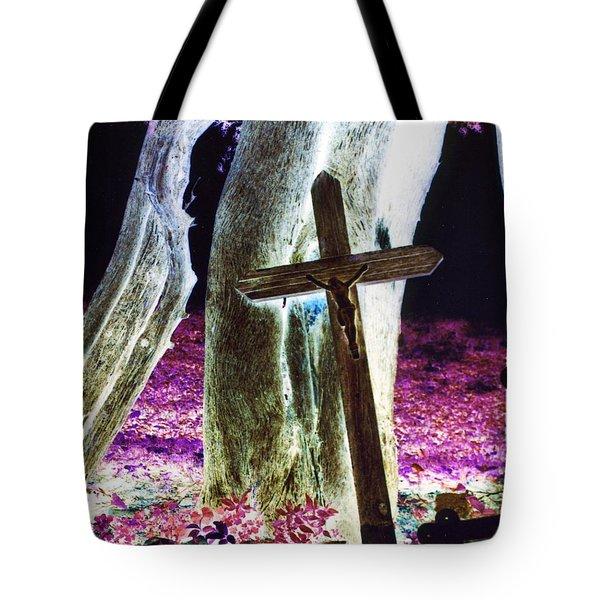 Surreal Crucifixion Tote Bag by Karin Kohlmeier