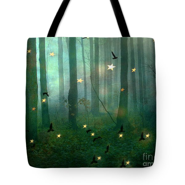 Surreal Dreamy Fantasy Nature Fairy Lights Woodlands Nature - Fairytale Fantasy Forest Woodlands  Tote Bag