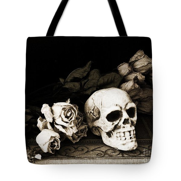 Surreal Gothic Dark Sepia Roses And Skull  Tote Bag