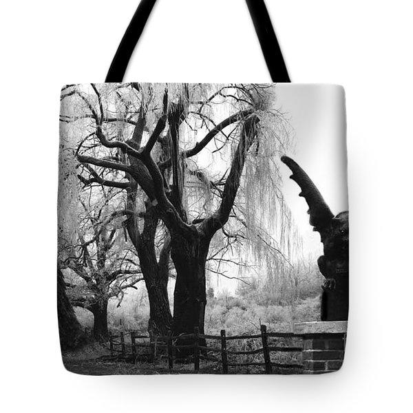 Surreal Gothic Gargoyle Black And White Tree Infrared Landscape  Tote Bag