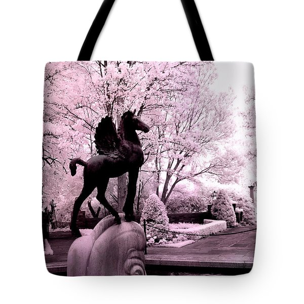 Surreal Infared Pink Black Sculpture Horse Pegasus Winged Horse Architectural Garden Tote Bag by Kathy Fornal