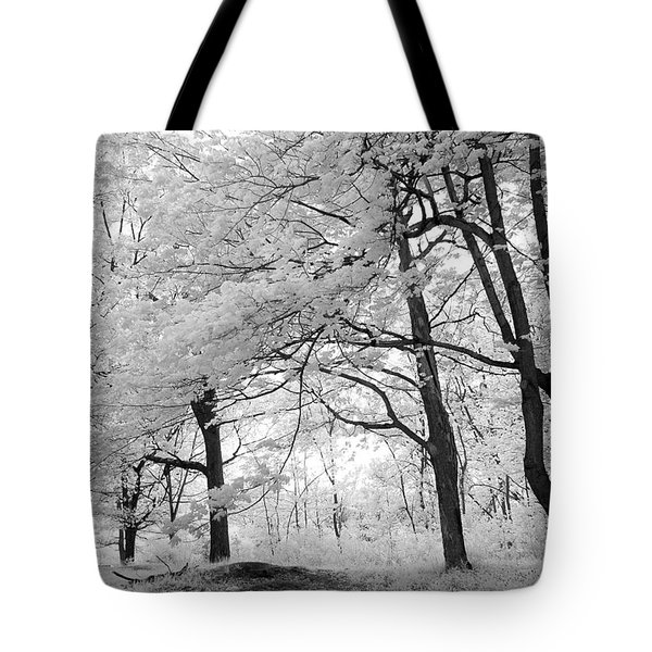 Tote Bag featuring the photograph Surreal Infrared Black White Nature Trees - Haunting Black White Trees Nature Infrared by Kathy Fornal